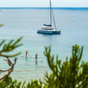 whitsunday getaway catamaran aerial shot